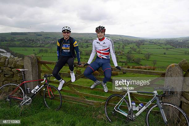 Olympic cyclist Steven Burke and former Olympic triple jumper Jonathan Edwards during the Marie Curie Cancer Care Etape Pennines training ride on...