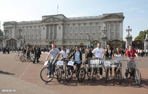 Olympic cyclists Ed Clancy Shanaze Reade and Victoria Pendleton Hollyoakes actress Roxanne McKee Olympic cyclist James Staff Gladiator star Jenny...