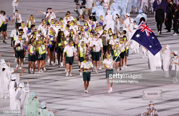 Olympic delegation of Australia parade into Olympic Stadium during the opening ceremony of Tokyo 2020 Olympic Games in Tokyo, Japan, July 23, 2021.
