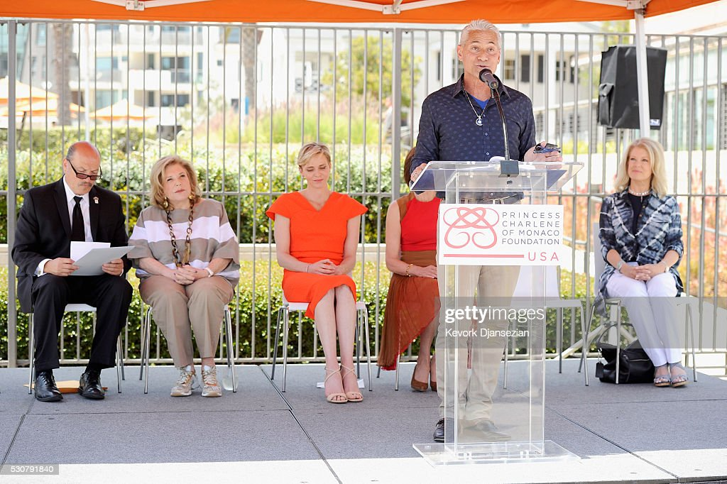 U.S. Olympic Diver, Greg Louganis speaks during The Princess Charlene of Monaco Foundation-USA Official Launch at the Annenberg Community Beach House on May 12, 2016 in Santa Monica, California.