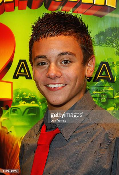 Olympic diver Tom Daley attends the UK Premiere of 'Madagascar Escape 2 Africa' at Empire Leicester Square on November 23 2008 in London England