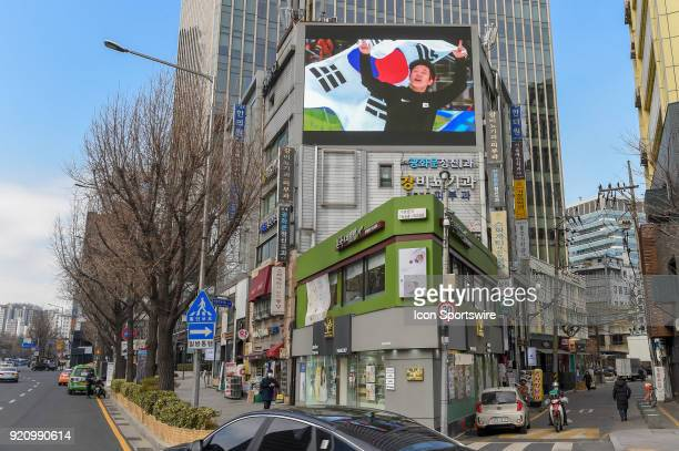 Olympic fans flying through Seoul South Korea were welcomed with large Olympic signage and video boards before making their way to the 2018 Winter...
