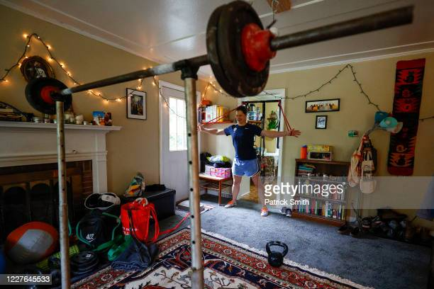 S Olympic fencer Katharine Holmes trains at her home on May 28 2020 in Princeton New Jersey An Olympian World Championship gold medalist and Pan...