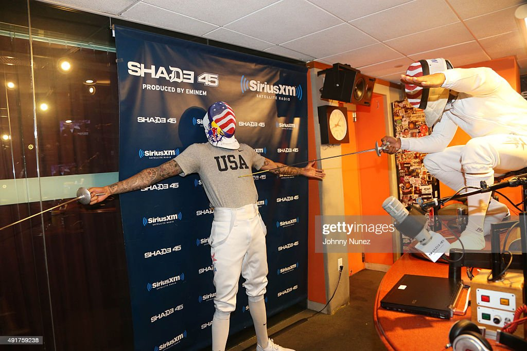 Olympic fencer Miles Chamley-Watson Invades 'The Whoolywood Shuffle' with host DJ Whoo Kid at SiriusXM Studios on October 7, 2015, in New York City.