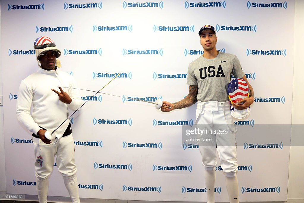 Olympic fencer Miles Chamley-Watson (R) Invades 'The Whoolywood Shuffle' with host DJ Whoo Kid (L) at SiriusXM Studios on October 7, 2015, in New York City.