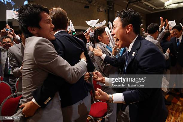 Olympic fencing medalist, Yuki Ota celebrates with the delegation as Tokyo is awarded the 2020 Summer Olympic Gamesduring the 125th IOC Session -...