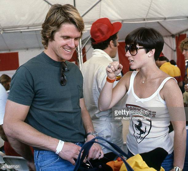 Olympic figure skater Dorothy Hamill chats with boyfriend Dean Paul Martin at the 4th United States Toyota Grand Prix west on April 8 1979 in Long...