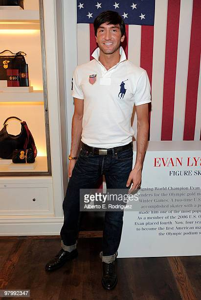 Olympic figure skater Evan Lysacek celebrates his Olympic Gold Medal at Ralph Lauren on Robertson Blvd on March 23 2010 in Los Angeles California