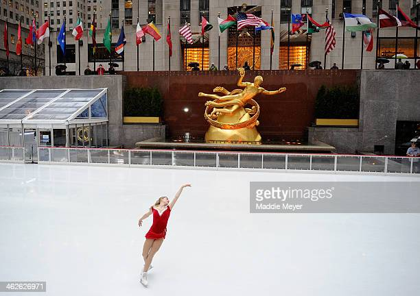 Olympic figure skater Gracie Gold performs at The Rink at Rockefeller Center on January 14 2014 in New York City