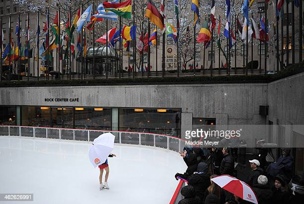 Olympic figure skater Gracie Gold prepares to perform at The Rink at Rockefeller Center on January 14 2014 in New York City