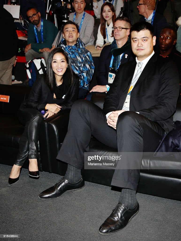 Olympic figure skater Michelle Kwan and NBA legend and Olympian Yao Ming at the opening of the Alibaba Showcase at the PyeongChang 2018 Winter Olympic Games on February 10, 2018 in Gangneung, South Korea.