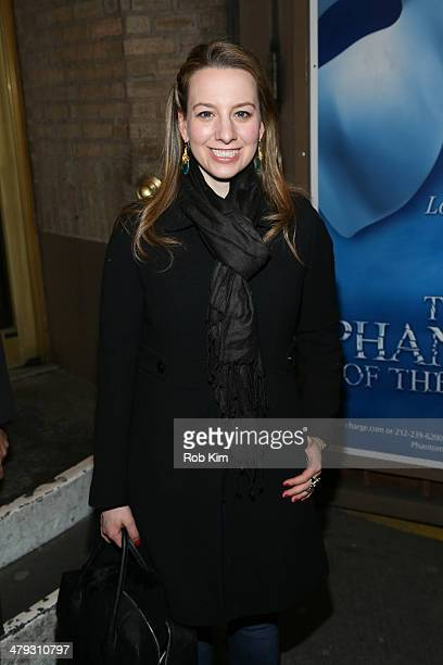 Olympic figure skater Sarah Hughes outside meet and greet following Elvis Stojko's debut performance on Broadway's 'Chicago' at Ambassador Theatre on...