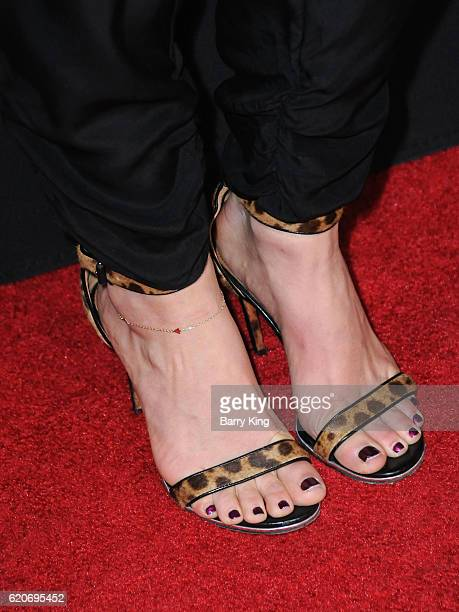 Olympic Figure Skater Tara Lipinski shoe detail arrives at the premiere of Open Road Films' 'Bleed For This' at Samuel Goldwyn Theater on November 2...