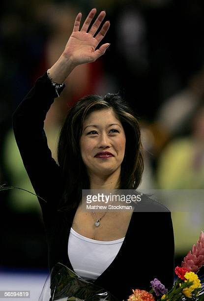 Olympic Figure Skating gold medalist, Kristi Yamaguchi, waves to the crowd as she is honored at the 2006 State Farm U.S. Figure Championships at the...