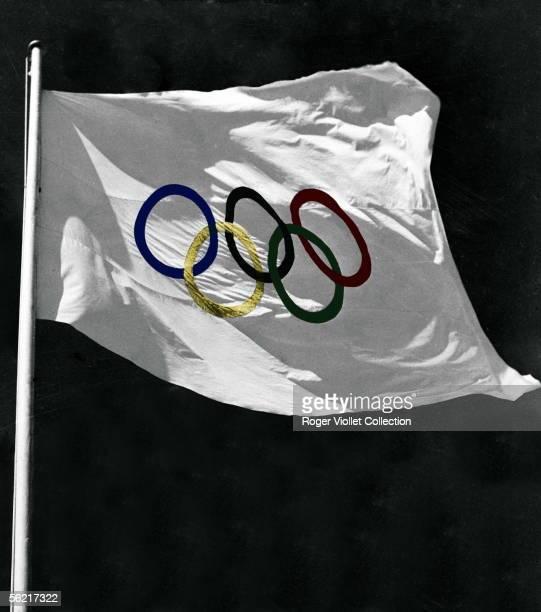 Olympic flag. Colourized photo.
