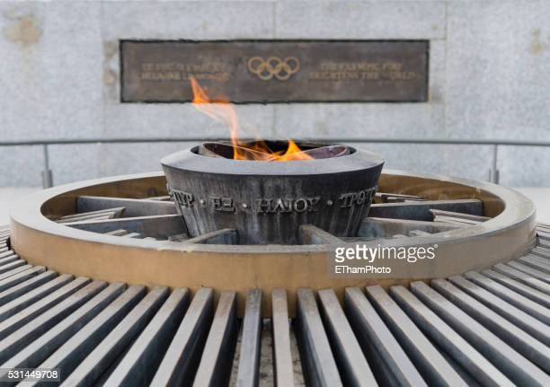 Olympic flame burning outside the Olympic museum at Lausanne, Switzerland