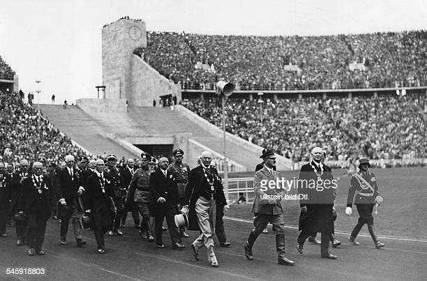Olympic Games 1936 in Berlin Hitler in the stadium with military and Olympic functionaries