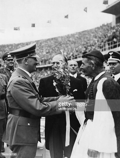 Olympic Games 1936 in Berlin Hitler welcomes Spiridon Louis Olympic champion marathon 1896