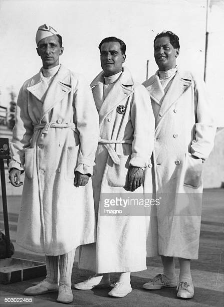 Olympic Games 1936 The winner in the individual epee fencing From left Saverio Ragno Franco Ricardi and Giancarlo CornaggiaMedici 11th August 1936...