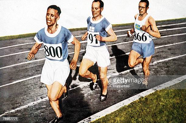 Olympic Games, Amsterdam, Holland, Men's 10000 Metres, Finland's Ville Ritola leads teammate Paavo Nurmi during the race, Ritola finished second to...