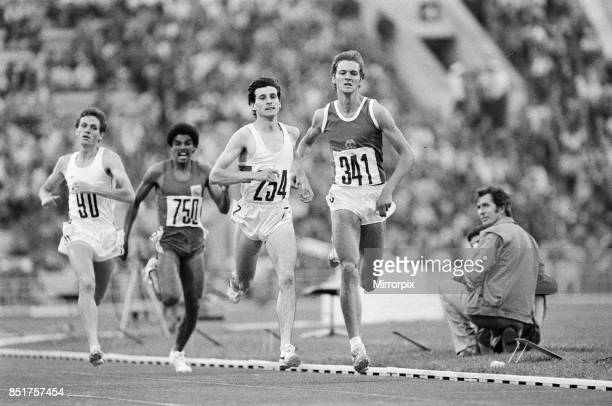 Olympic Games at the Central Lenin Stadium in Moscow Soviet Union Sebastian Coe of Great Britain in action to win the Men's 1500 metres semi final...