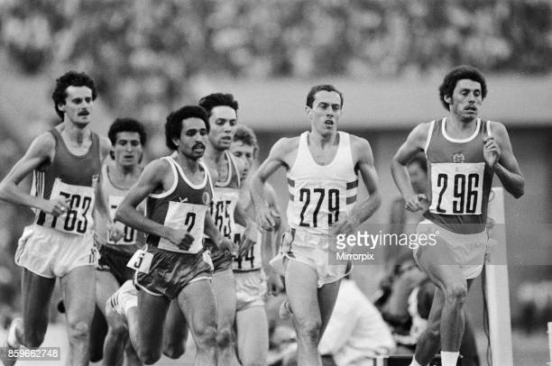 Olympic Games at the Central Lenin Stadium in Moscow Soviet Union Steve Ovett of Great Britain in action to win the Men's 1500 metres semi final heat...