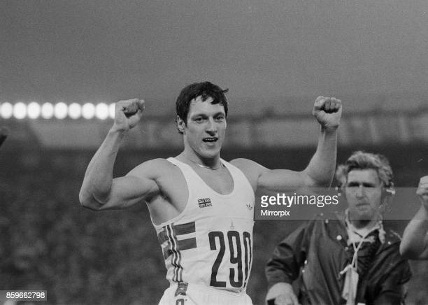 Olympic Games at the Central Lenin Stadium in Moscow Soviet Union Alan Wells celebtates after winning the gold medal in the Men's 100 metres final...