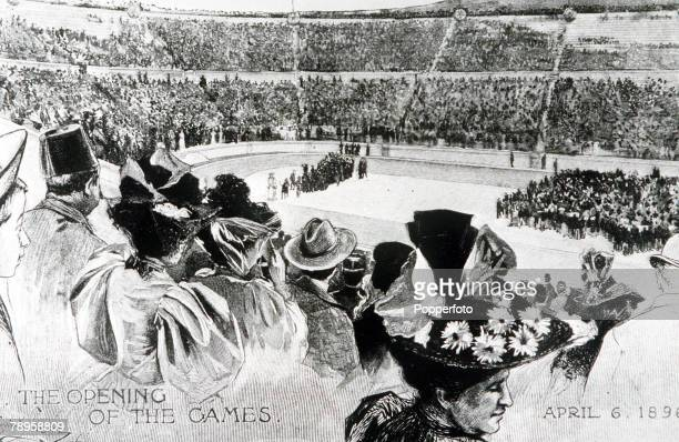 Olympic Games Athens Greece 6th April 1896 Illustration of the opening ceremony of the games