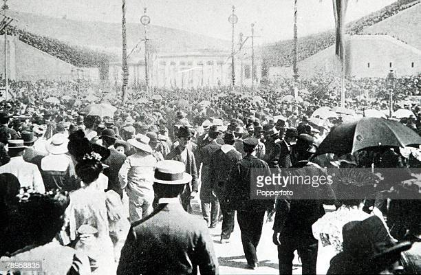 Olympic Games, Athens, Greece, A crowd of people on their way to watch the first ever Olympic Games