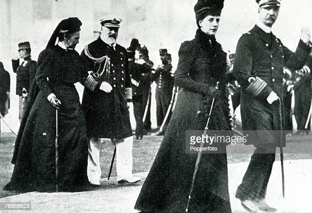 Olympic Games Athens Greece King George of Greece and Princess Alexandra walk in front of the Prince of Wales and Queen Olga