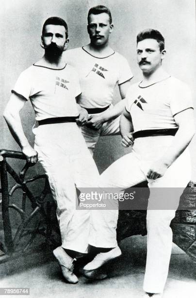 Olympic Games, Athens, Greece, Members of the Danish Olympic team L-R: Schmidt , Nielsen and Jensen