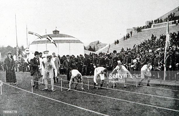 Olympic Games, Athens, Greece, Mens 100 Metres, The Start, Thomas Burke, USA won in 12 seconds