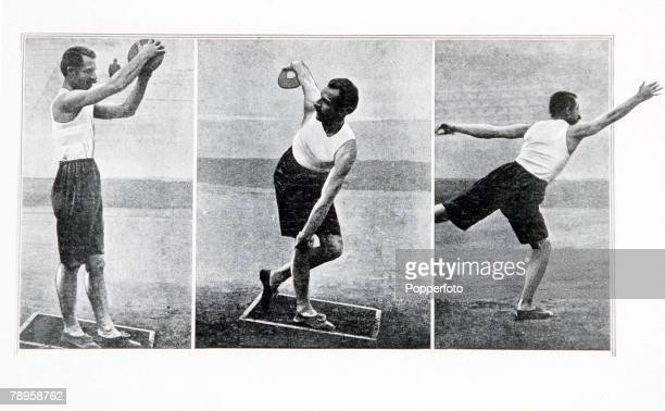 Olympic Games, Athens, Greece, Throwing the Discus, P, Paraskevopoulos of Greece who won the silver medal with a throw of 28,95 metres
