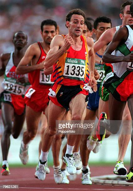 Olympic Games Atlanta USA Athletics Men's 1500 Metres Eventual silver medal winner Fermin Cacho leads the race