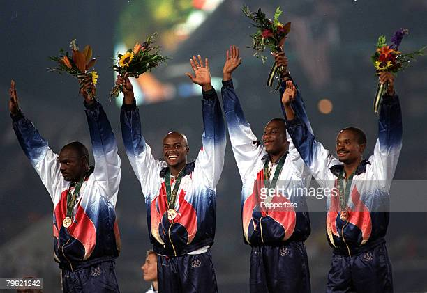 Olympic Games Atlanta USA Athletics Mens 4 x 400 Metres Relay Final The USA team stand on the podium after their gold medal win They are LR Smith...