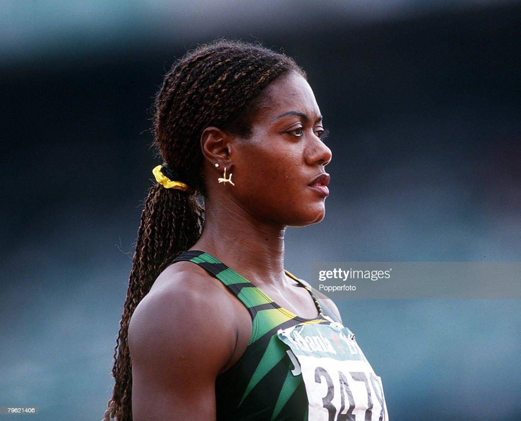 1996 Olympic Games. Atlanta, USA. Athletics. Women's 200 Metres Heat. Jamaica's eventual silver medal winner Merlene Ottey. : News Photo