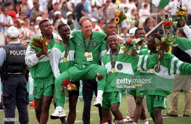 Olympic Games, Atlanta, USA, Football Final, Nigeria 3 v Argentina 2, Nigerian coach Johannes Bonfrere is chaired by his team as they celebrate their...