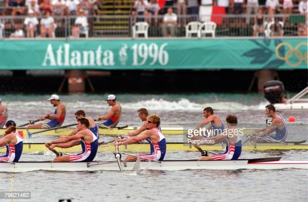 Olympic Games Atlanta USA Mens Rowing Coxless Fours Great Britain's bronze medal winning team in action