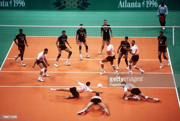Olympic Games Atlanta USA Men's Volleyball An aerial view of the court during the match between Italy and Holland showing Dutch players diving to try...