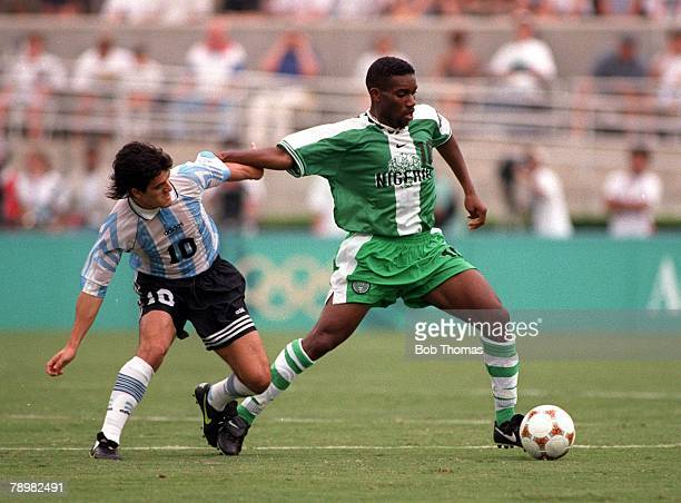 Olympic Games Atlanta USA Sanford Stadium Georgia Men's Football Gold Medal Match Nigeria 3 v Argentina 2 Nigerias Augustine Okocha is challenged for...