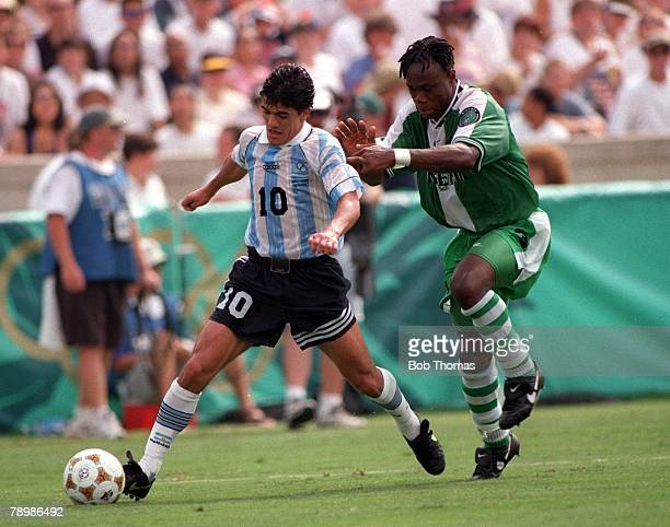 Olympic Games Atlanta USA Sanford Stadium Georgia Men's Football Gold Medal Match Nigeria 3 v Argentina 2 Argentinas Ariel Ortega is fouled by...