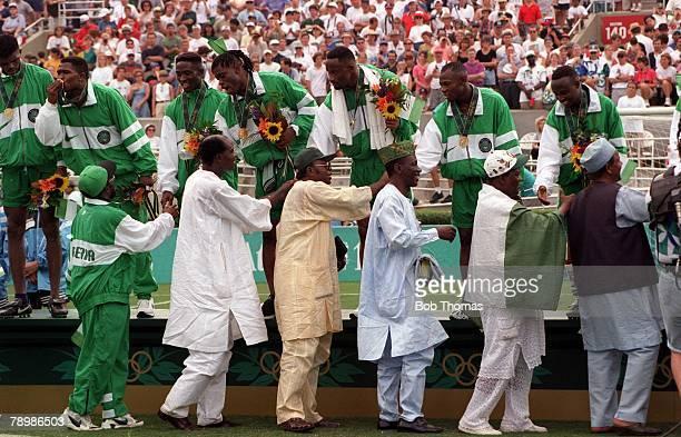 Olympic Games, Atlanta, USA, Sanford Stadium, Georgia, Men's Football, Gold Medal Match, Nigeria 3 v Argentina 2, The Nigerian team celebrate with...