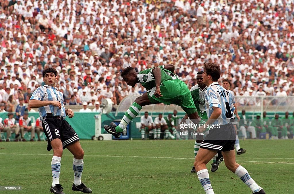 1996 Olympic Games. Atlanta, USA. Sanford Stadium, Georgia. Men's Football. Gold Medal Match. Nigeria 3 v Argentina 2. Nigeria+s Celestine Babayaro scores his side's first goal with a header. : News Photo