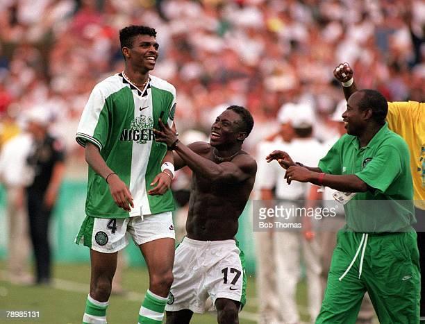 Olympic Games Atlanta USA Sanford Stadium Georgia Men's Football Semi Final Nigeria 4 v Brazil 3 Nigerian captain Nwankwo Kanu and Obaraku celebrate...
