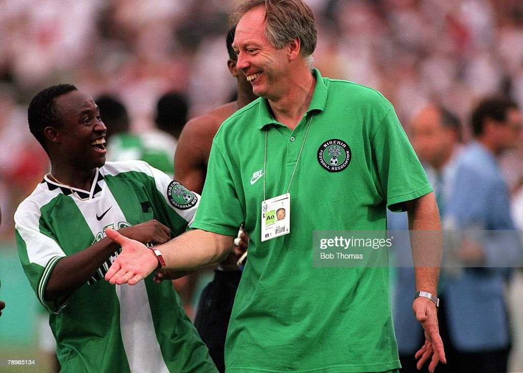 1996 Olympic Games. Atlanta, USA. Sanford Stadium, Georgia. Men's Football. Semi Final. Nigeria 4 v Brazil 3. Nigerian coach Jo Bonfrere celebrates with T. Babangida at the end of the match as they celebrate their place in the Final. : News Photo
