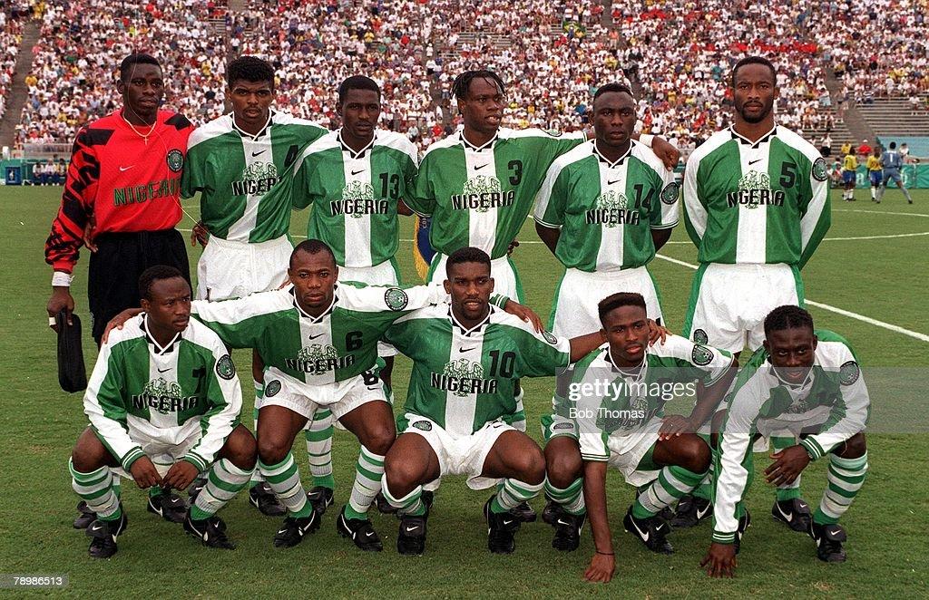1996 Olympic Games. Atlanta, USA. Sanford Stadium, Georgia. Men's Football. Semi Final. Nigeria 4 v Brazil 3. The Nigeria team pose for a group photograph before the match. : News Photo