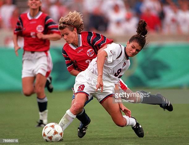 Olympic Games, Atlanta, USA, Sanford Stadium, Georgia, Women's Football, Semi Final, USA 2 v Norway 1, Norway's Agente Carlsen fouls USA's Mia Hamm,...