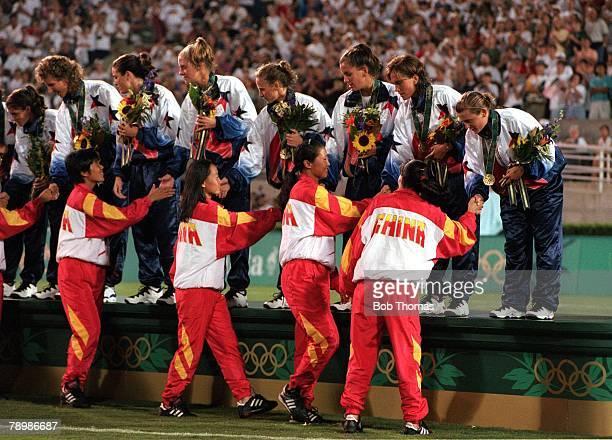 Olympic Games, Atlanta, USA, Sanford Stadium, Georgia, Women's Football, Gold Medal Match, USA 2 v China 1, China sportingly congratulate gold medal...