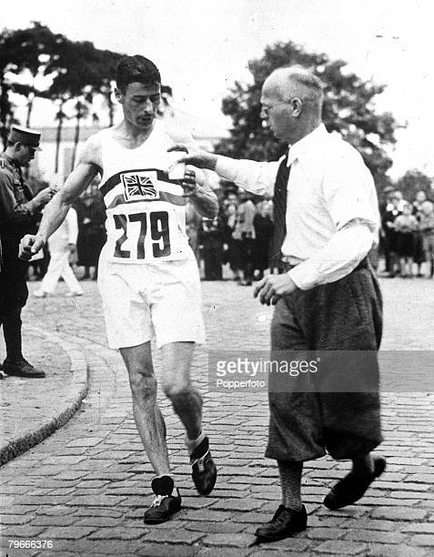 Olympic Games Berlin Germany 6th August 1936 Harold Whitlock of Great Britain takes a drink on his way to winning the 50 Kilometres walk at the...