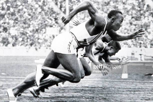 Olympic Games Berlin Germany Men's 100 Metres Final USA's legendary Jesse Owens on his way to winning one of his four gold medals